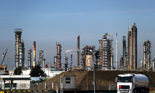 The Exxon Mobil refinery in Rotterdam, the Netherlands